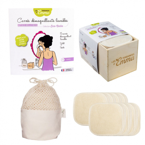 coffret en bois Kit Eco belle 15 Carr/és d/émaquillants lavables