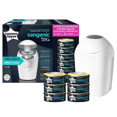 Tommee Tippee Sangenic Tec Poubelle Bac A Couches 6 Recharges