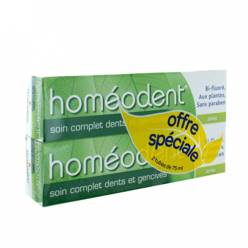 HOMEODENT SOIN COMPLET DENTS ET GENSIVES DENTIFRICE ANIS 2X75ML