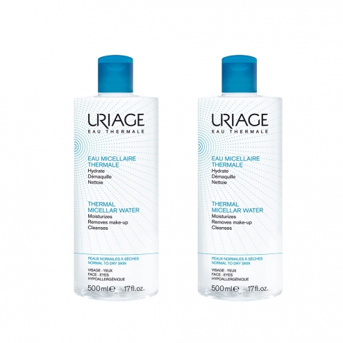 uriage eau micellaire thermale peaux normales a seches 2x500ml. Black Bedroom Furniture Sets. Home Design Ideas