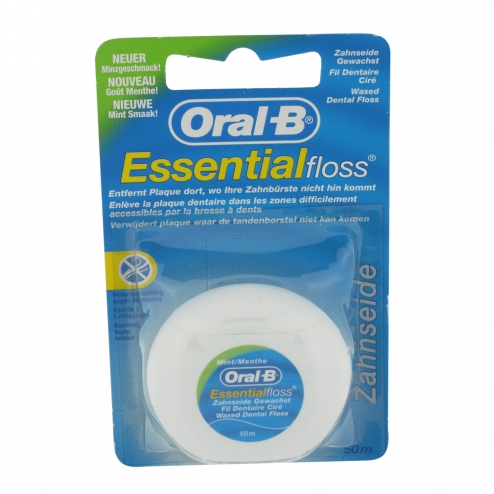 oral b fil dentaire cire essential floss menthe 50m. Black Bedroom Furniture Sets. Home Design Ideas