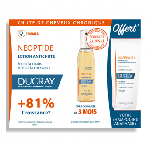 Coffret Lotion capillaire 3x30ml + Shampooing Anaphase 100ml offert Neoptide Ducray
