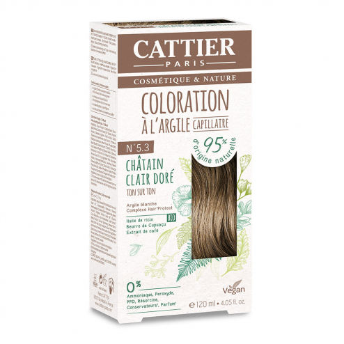 COLORATION A L'ARGILE CAPILLAIRE 120ML CATTIER-N5.3 CHATAIN CLAIR DORE