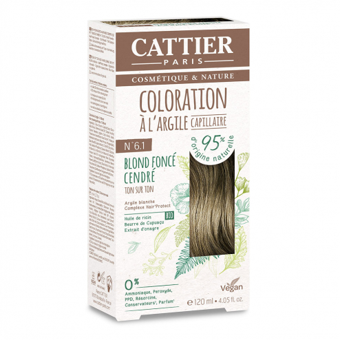 COLORATION A L'ARGILE CAPILLAIRE 120ML CATTIER-N6.1BLOND FONCE CENDRE