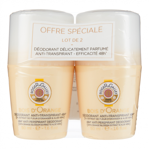 DEODORANT ANTI TRANSPIRANT EFFICACE 48H 2X50ML BOIS D'ORANGE ROGER & GALLET