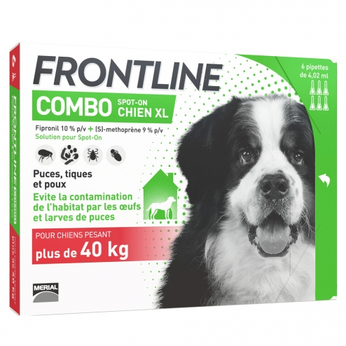 FRONTLINE COMBO SPOT-ON CHIEN XL PLUS DE 40KG 6 PIPETTES DE 4.02ML