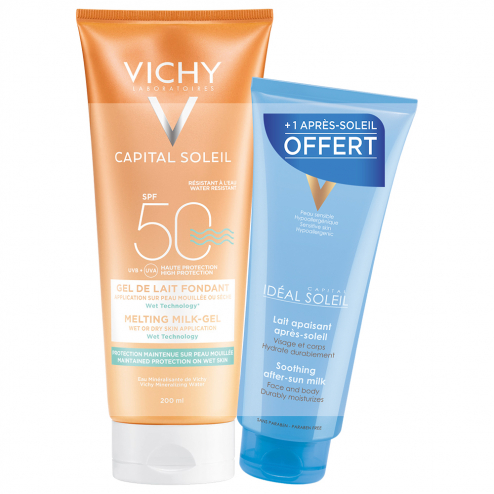 GEL LAIT FONDANT SPF50 200ML CAPITAL SOLEIL + APRES-SOLEIL IDEAL SOLEIL 100ML OFFERT VICHY