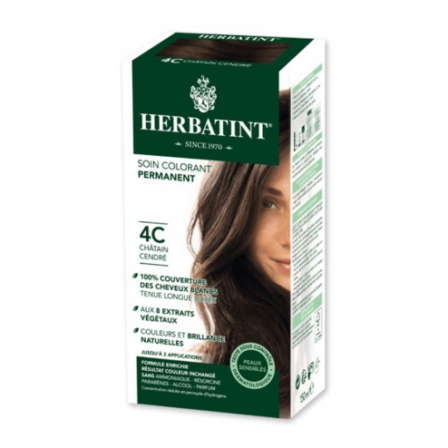 HERBATINT SOIN COLORANT PERMANENT AUX EXTRAITS VEGETAUX 150ML - 4C CHATAIN CENDRE
