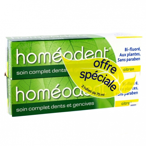 HOMEODENT SOIN COMPLET DENTS ET GENCIVES DENTIFRICE CITRON 2X75ML