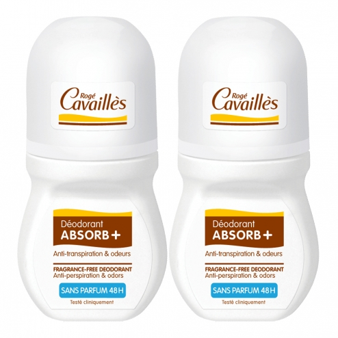 ROGE CAVAILLES DEO ROLL-ON ABSORB+ ANTI-TRANSPIRATION SANS PARFUM 48H 2X50ML