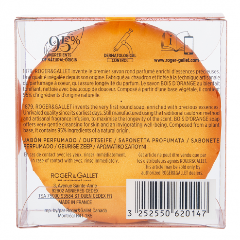 SAVON PARFUME BASE 100% VEGETALE 100G BOIS D'ORANGE ROGER & GALLET