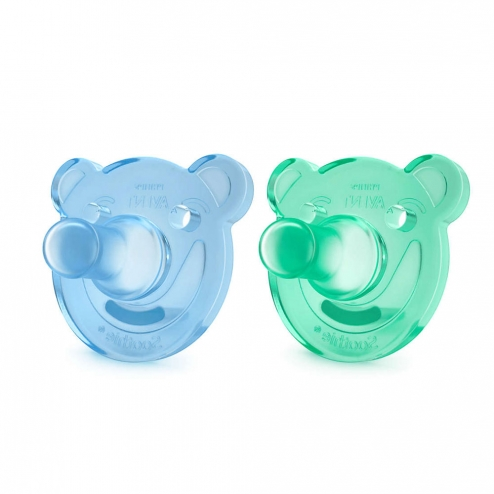 SUCETTES SILICONE ORTHODONTIQUES SOOTHIE 0-3 MOIS X2 AVENT-BLEU