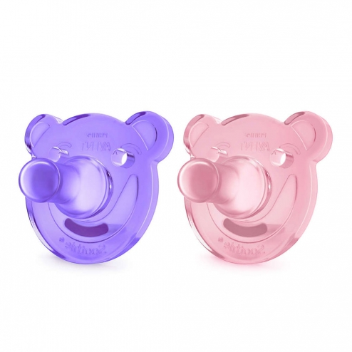 SUCETTES SILICONE ORTHODONTIQUES SOOTHIE 0-3 MOIS X2 AVENT-ROSE
