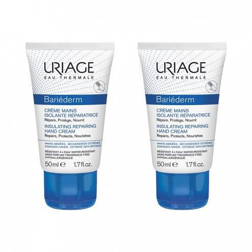Bariederm Creme Mains Isolante Reparatrice Mains Abimees 2x50ml Uriage