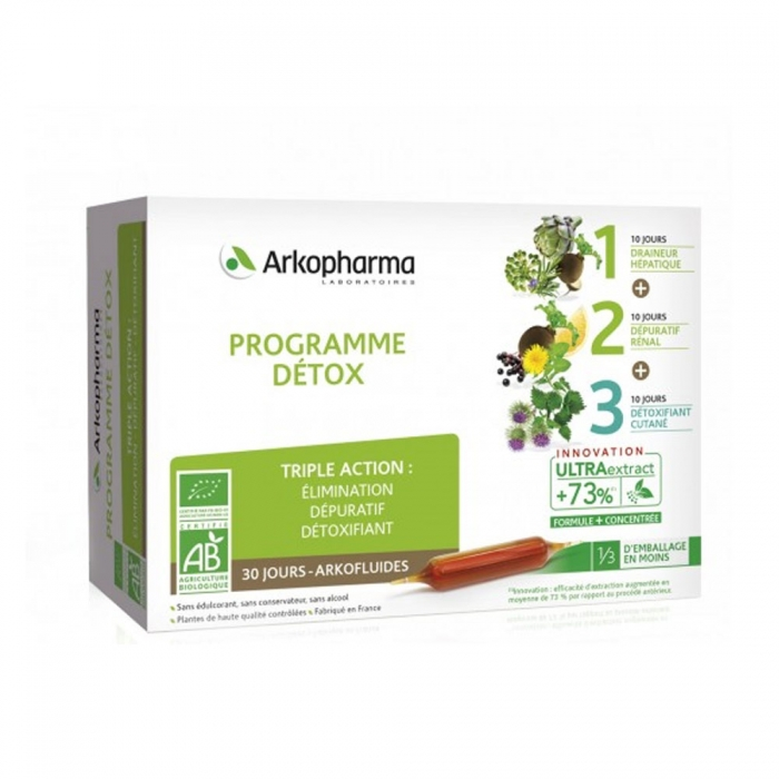 arkofluides programme detox bio 3x10 ampoules easyparapharmacie. Black Bedroom Furniture Sets. Home Design Ideas