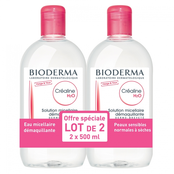 BIODERMA CREALINE H2O SOLUTION MICELLAIRE DEMAQUILLANTE SANS PARFUM 2X500ML