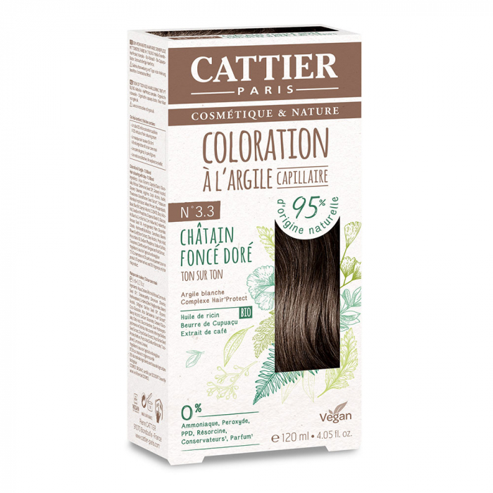 COLORATION A L'ARGILE CAPILLAIRE 120ML CATTIER-CHATAIN FONCE DORE