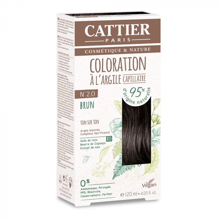 COLORATION A L'ARGILE CAPILLAIRE 120ML CATTIER-N2.0 BRUN