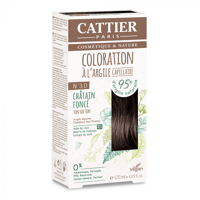COLORATION A L'ARGILE CAPILLAIRE 120ML CATTIER-N3.0 CHATAIN FONCE