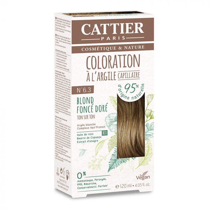 COLORATION A L'ARGILE CAPILLAIRE 120ML CATTIER-N6.3BLOND FONCE DORE