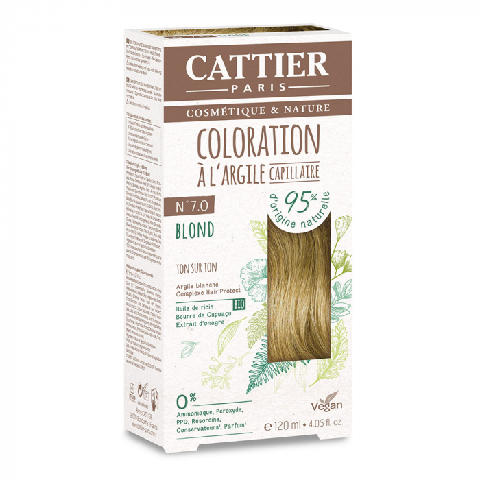 COLORATION A L'ARGILE CAPILLAIRE 120ML CATTIER-N7.0 BLOND