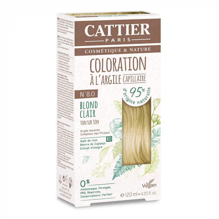 COLORATION A L'ARGILE CAPILLAIRE 120ML CATTIER-N8 BLOND CLAIR