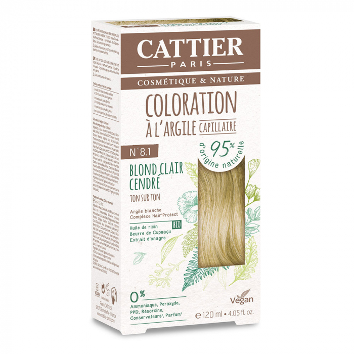 COLORATION A L'ARGILE CAPILLAIRE 120ML CATTIER-N8.1 ASH LIGHT BLOND