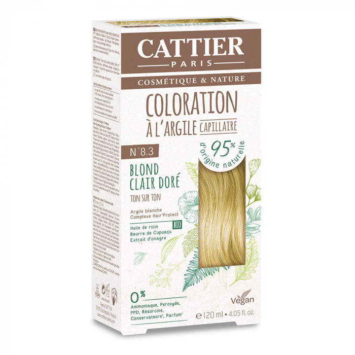 COLORATION A L'ARGILE CAPILLAIRE 120ML CATTIER-N8.3 BLOND CLAIR DORE