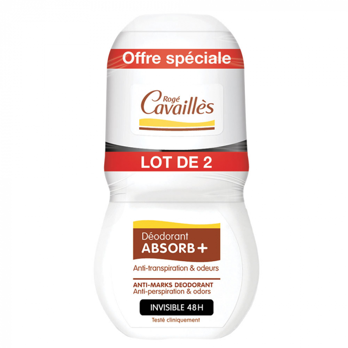 DEODORANT ABSORB+ ANTI-TRANSPIRATION ET ODEUR 2X50ML ROGE CAVAILLES