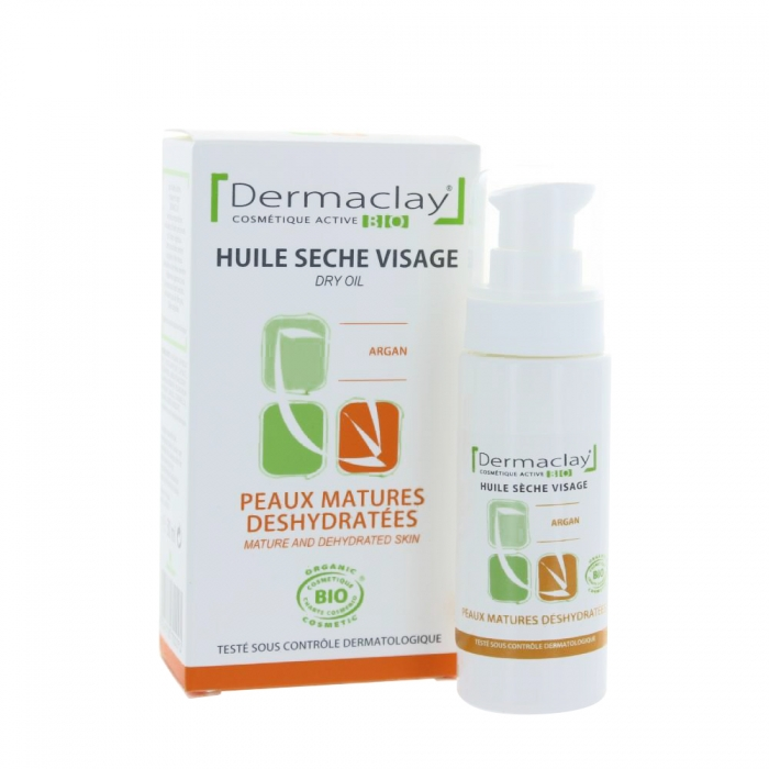 dermaclay huile seche visage peaux matures deshydrateees bio 30ml. Black Bedroom Furniture Sets. Home Design Ideas