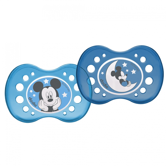 DODIE SUCETTES SYMETRIQUES SILICONE NUIT MICKEY MINNIE 18 MOIS ET PLUS X2 MICKEY