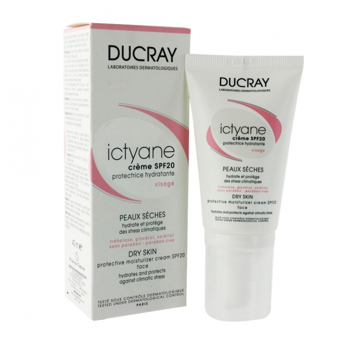ducray ictyane creme hydratante protectrice spf20 peaux seches 40ml. Black Bedroom Furniture Sets. Home Design Ideas