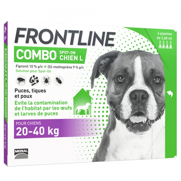 FRONTLINE COMBO SPOT-ON CHIEN L 20-40KG 4 PIPETTES DE 2.68ML
