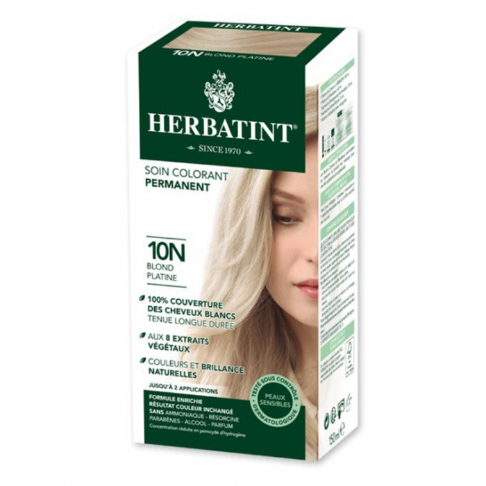 HERBATINT SOIN COLORANT PERMANENT AUX EXTRAITS VEGETAUX 150ML - 10N BLOND PLATINE