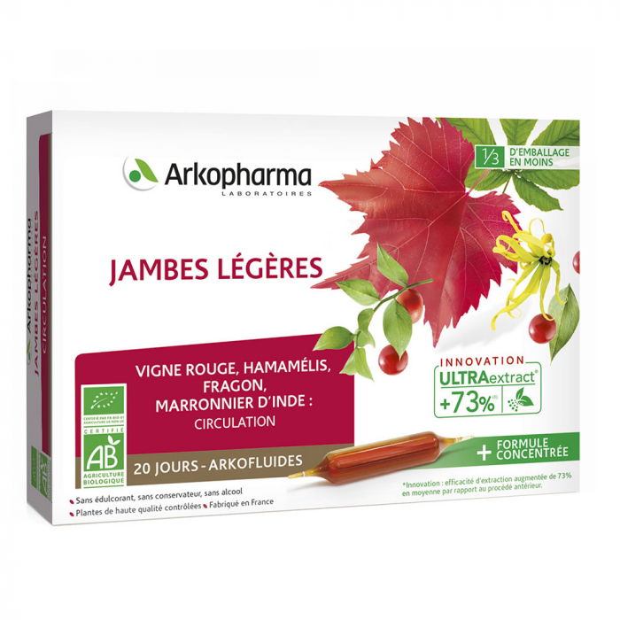 JAMBES LEGERES BIO 20 AMPOULES ARKOFLUIDES ARKOPHARMA