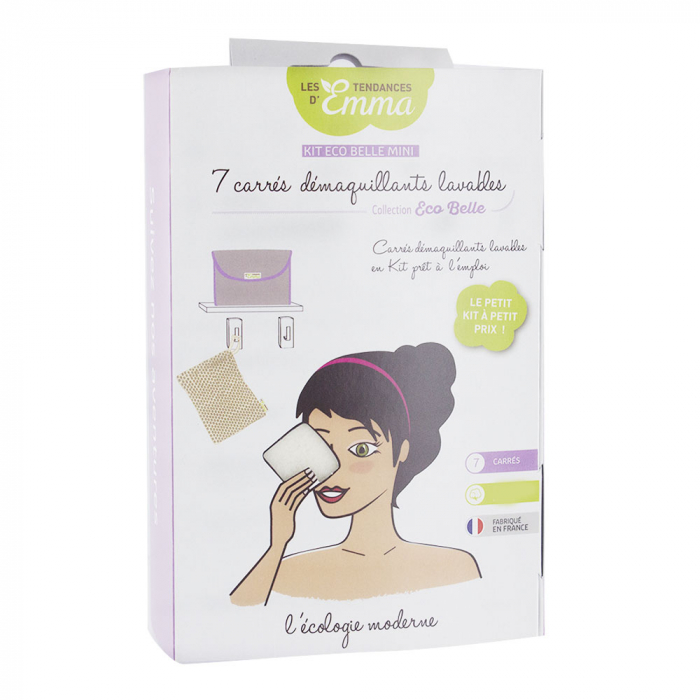 KIT ECO BELLE MINI 7 CARRES DEMAQUILLANTS COTON BIO BIFACE LES TENDANCES D'EMMA