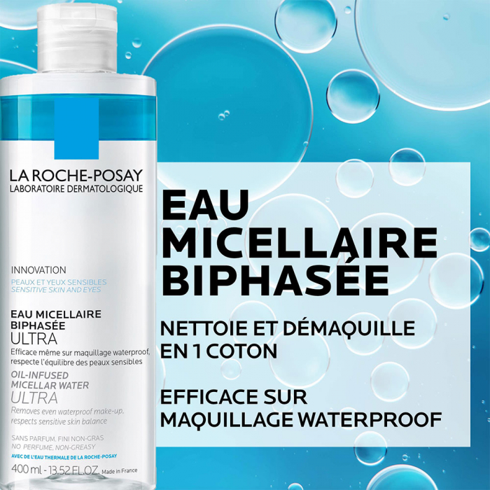 Eau Micellaire Biphasee Ultra demaquillant visage yeux waterproof 400ml Eau Micellaire Ultra La Roche-Posay