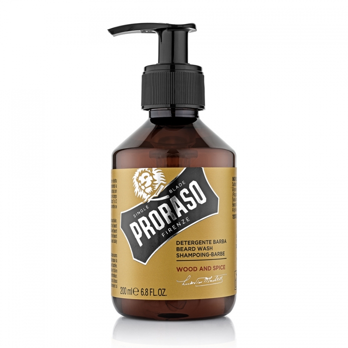 PRORASO SINGLE BLADE SHAMPOOING POUR LA BARBE 200ML - WOOD AND SPICE