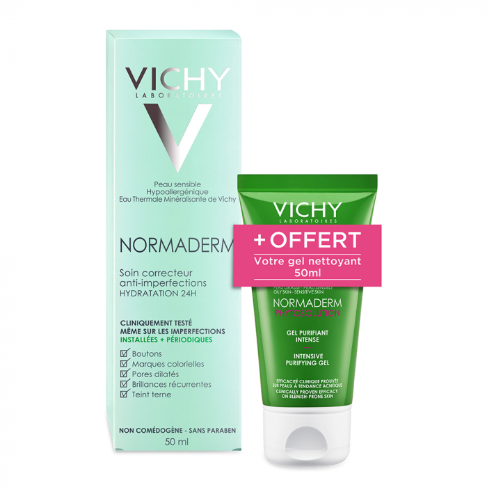 ROUTINE SOIN CORRECTEUR 50ML NORMADERM ANTI-IMPERFECTIONS HYDRATATION 24H VICHY
