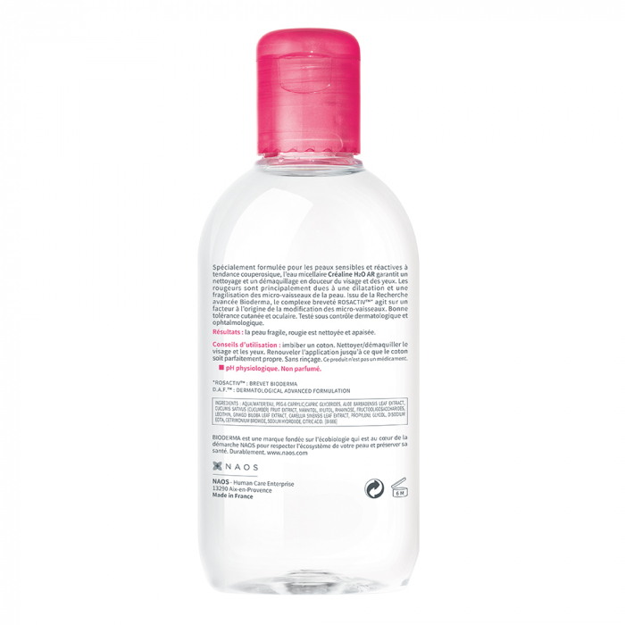 Solution Micellaire Anti-rougeurs Peaux Sensibles H2o Ar 250ml Crealine Bioderma
