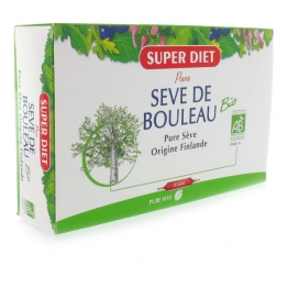 SUPERDIET SOLUTION BUVABLE BIO A BASE DE SEVE DE BOULEAU 20 AMPOULES DE 15 ML