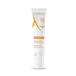 ADERMA SOLAIRE PROTECT FLUIDE INVISIBLE SPF50+ PEAUX FRAGILES MIXTES A GRASSES 40ML