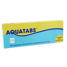 AQUATABS DESINFECTION DE L'EAU 40 COMPRIMES EFFERVESCENTS