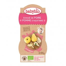 BABYBIO JUNIOR P'TITS FRUITS POIRE POMME 2X120G