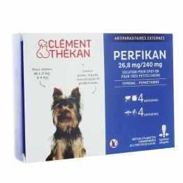CLEMENT THEKAN PERFIKAN SOLUTION SPOT-ON 26.8MG/240MG TRES PETITS CHIENS 1,5 A 4KG PIPETTES X4