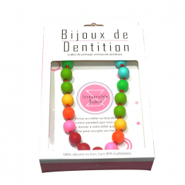 Collier silicone multicolore Bijou de dentition et de portage Irreversible