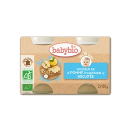 BABYBIO CREME AUX FRUITS POMME-BISCUIT 2X130G
