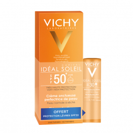 CREME ONCTUEUSE SPF50+ CAPITAL SOLEIL + STICK LEVRES SPF30 IDEAL SOLEIL OFFERT VICHY