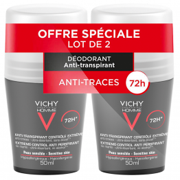 DEODORANT ANTI TRANSPIRANT EFFICACE 72H 2X50ML CONTROLE TRANSPIRATION HOMME VICHY