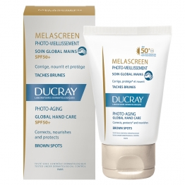 DUCRAY MELASCREEN PHOTO VIEILLISSEMENT SOIN GLOBAL MAINS TACHES BRUNES SPF50+ 50ML